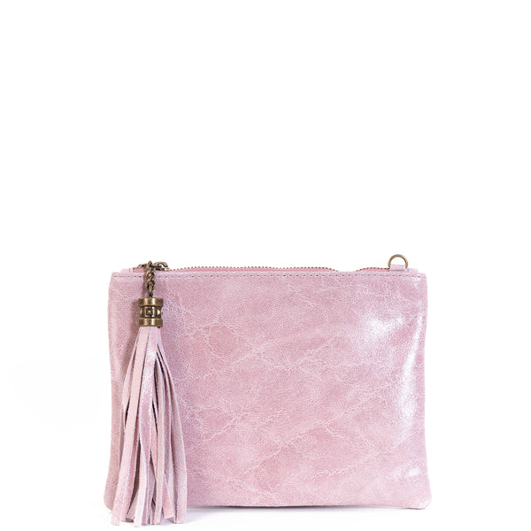 Rose Pink Real Leather Tassel Clutch Bag - Amilu