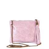 Rose Pink Real Leather Tassel Clutch Bag - Chain Strap - Amilu