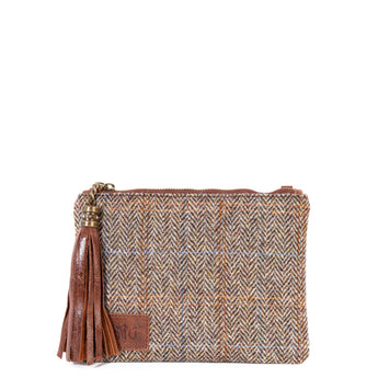 Tan Harris Tweed Flat Clutch Bag - Amilu