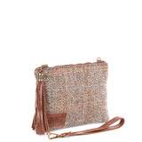 Tan Harris Tweed Flat Clutch Bag - Side - Amilu
