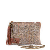 Tan Harris Tweed Flat Clutch Bag - With Chain Strap - Amilu
