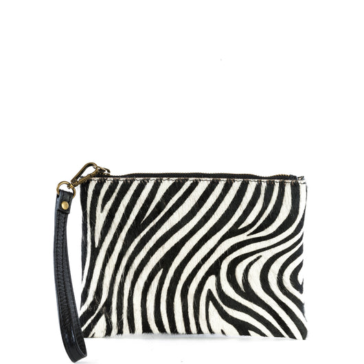 Zebra Cow Hair and Real Leather Tassel Clutch Bag - Amilu