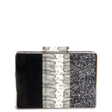 Black & Silver Multi Textured Box Clutch