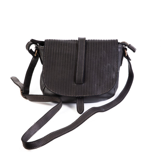 Classic Black Real Italian Leather Small Saddle Bag