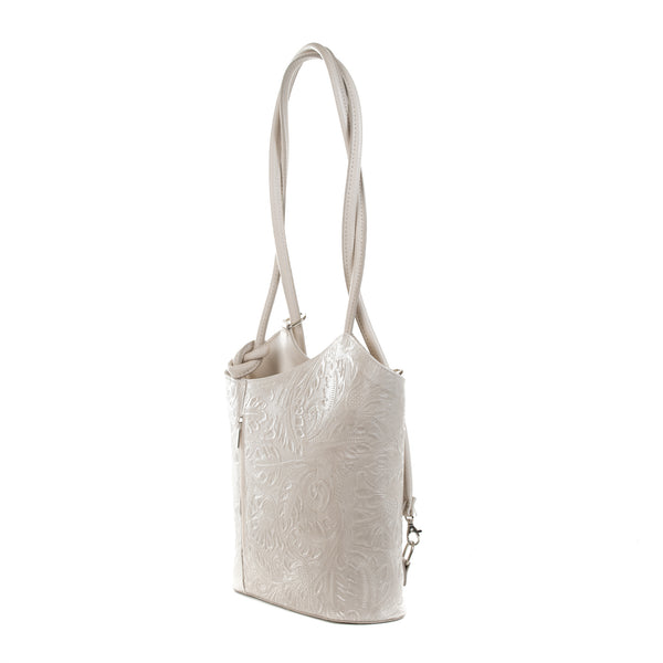 White Florens Embossed Real Leather Shoulder Backpack Bag