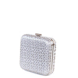 Silver Laser Cut Hardcase Box Clutch - Side - Amilu