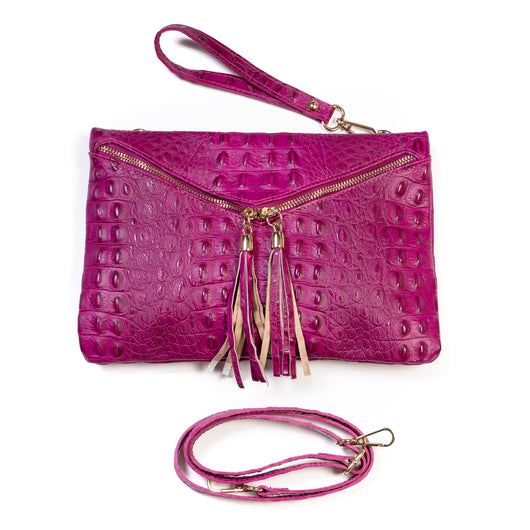 Magenta Pink Real Italian Leather Croc Envelope Clutch Bag