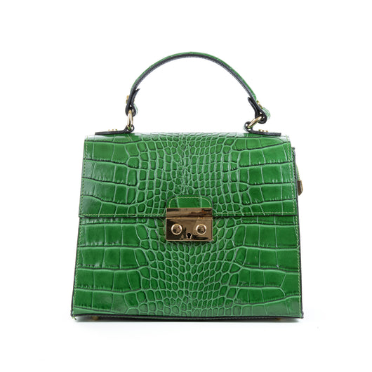 Emerald Green Real Italian Leather Croc Satchel Bag Front - Amilu