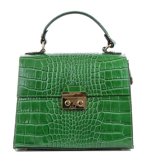 Emerald Green Real Italian Leather Croc Satchel Bag