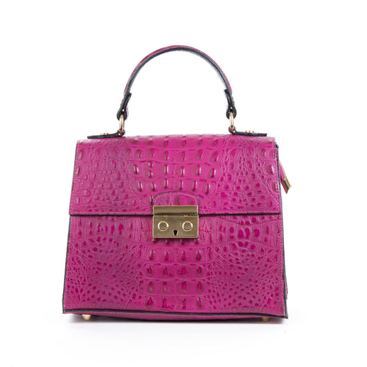 Magenta Pink Real Italian Leather Croc Satchel Bag Front - Amilu