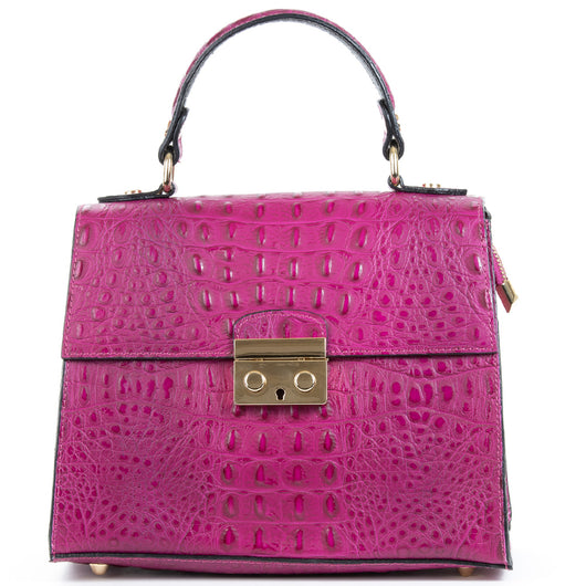 Magenta Pink Real Italian Leather Croc Satchel Bag