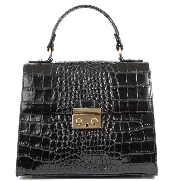 Black Real Italian Leather Croc Satchel Bag