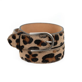 Leopard Cow Hair and Real Leather Wide Belt