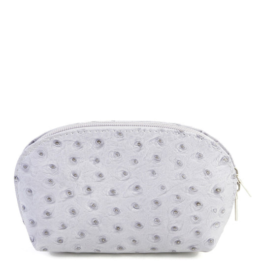Light Grey Real Leather Mini Clutch Bag