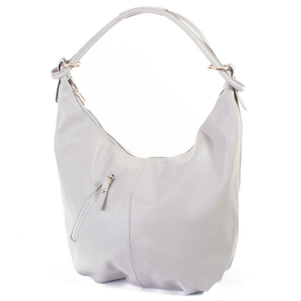 Classic Light Grey Real Leather Slouch Shoulder Bag