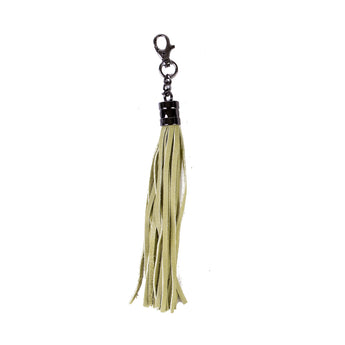 Lime Real Leather Tassel Bag Charm - Amilu