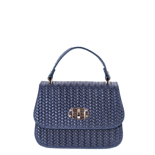 Navy Blue Real Leather Mini Grab Bag - Amilu