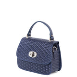 Navy Blue Real Leather Mini Grab Bag - Side - Amilu