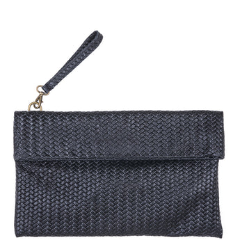 Black Weave Effect Real Leather Clutch Bag