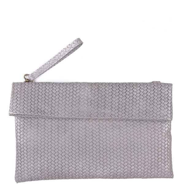 Grey Weave Effect Real Leather Clutch Bag