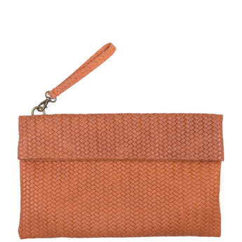 Tan Weave Effect Real Leather Clutch Bag