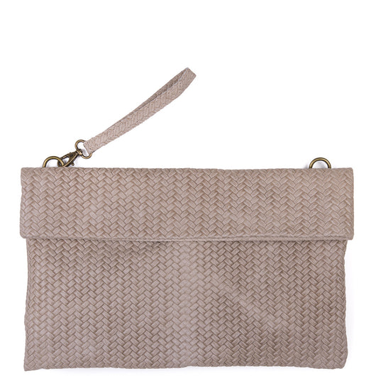 Taupe Weave Effect Real Leather Clutch Bag