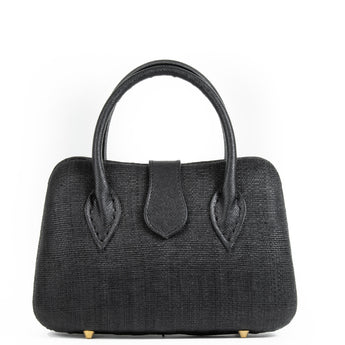 Black Woven Straw Tote Bag