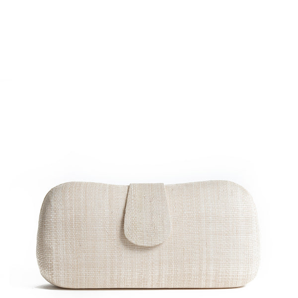 Cream Woven Straw Clutch Bag