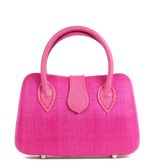 Fuchsia Pink Woven Straw Tote Bag