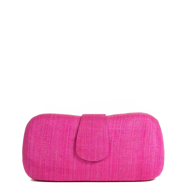 Fuchsia Pink Woven Straw Clutch Bag