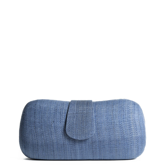 Navy Woven Straw Clutch Bag