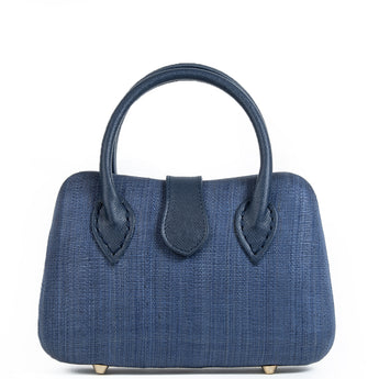 Navy Woven Straw Tote Bag