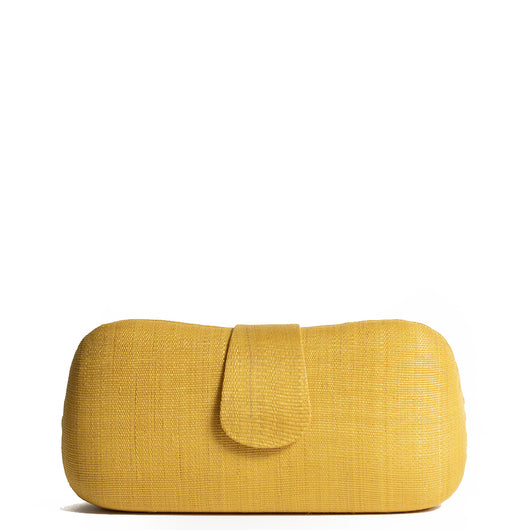Yellow Woven Straw Clutch Bag