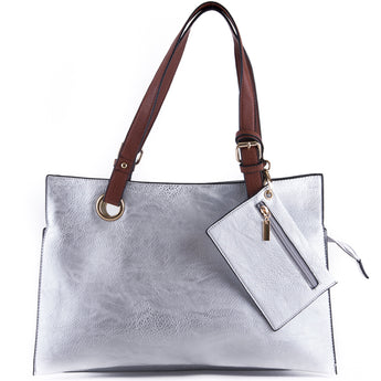 Metallic Silver Faux Leather Shopper Tote Bag