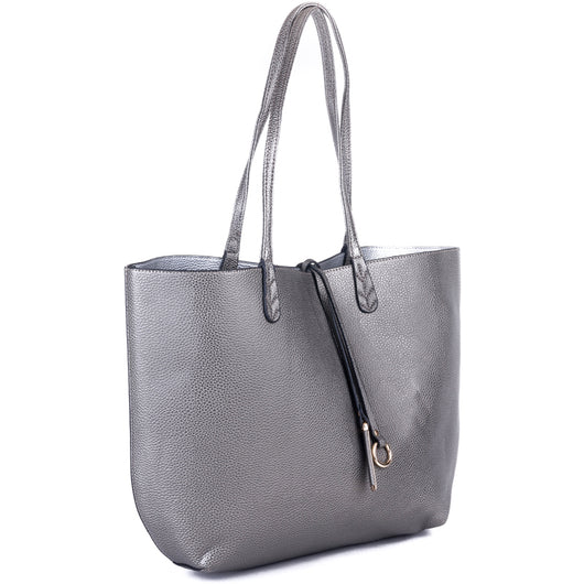 5aaefed581ff Fantastic Grey and Silver Faux Leather Reversible Bag – Amilu SJ21