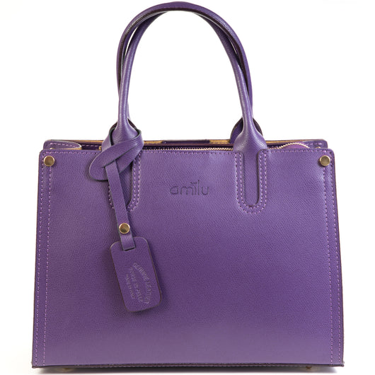 Purple Real Textured Leather Grab Tote Bag