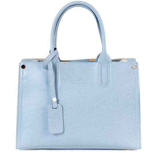 Light Blue Real Saffiano Leather Grab Tote Bag - Amilu