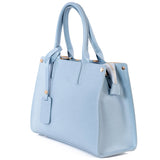 Light Blue Real Saffiano Leather Grab Tote Bag
