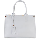 Mid Grey Real Saffiano Leather Grab Tote Bag