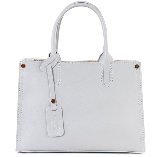 Light Grey Real Saffiano Leather Grab Tote Bag