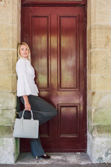 Light Blue Real Saffiano Leather Grab Tote Bag - Lifestyle - Amilu
