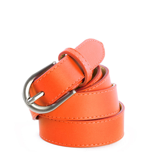 Orange Real Italian Leather Narrow Belt