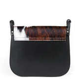 Black Real Leather and Cow Hair Cross Body Tassel Bag Back