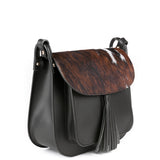 Black Real Leather and Cow Hair Cross Body Tassel Bag Side