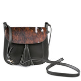 Black Real Leather and Cow Hair Cross Body Tassel Bag With Strap