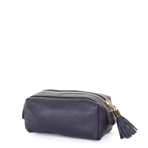 Navy Real Leather Cosmetic Bag