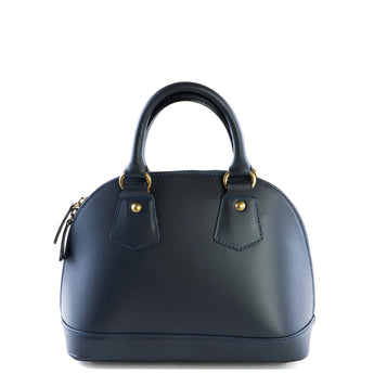 Navy Real Leather Bowling Grab Bag - Amilu