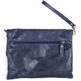 Navy Soft Real Leather Cross Body Bag Back