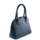 Navy Croc Real Leather Grab Bag Side - Amilu