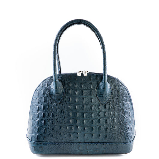 Navy Croc Real Leather Grab Bag - Amilu